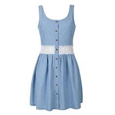 CROCHET WAIST CHAMBRAY DRESS Macrame Dress, Blue Dresses, Summer Dresses, Chambray Dress, My Style, Crochet, Polyvore, Skirts, Jackets