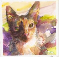 """Daily+Paintworks+-+""""Young+Cat""""+-+Original+Fine+Art+for+Sale+-+©+jean+krueger"""