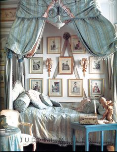 Robin's egg blue bed in eighteenth century style.