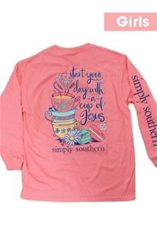 307f924e767eef Simply Southern Preppy Collection Cup of Jesus Long Sleeve T-Shirt for  Girls in Flamingo