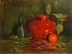 "Daily+Paintworks+-+""Mandarin+and+red+pot""+-+Original+Fine+Art+for+Sale+-+©+Dave+Froude"