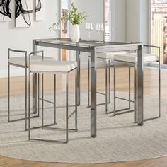 Coaster Furniture Atlus 5 Piece Counter Height Table Set Brown/Black ...