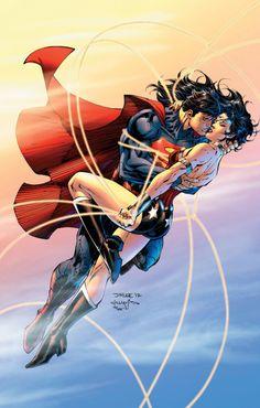 Superman and Wonder Woman! Drawn by Jim Lee!