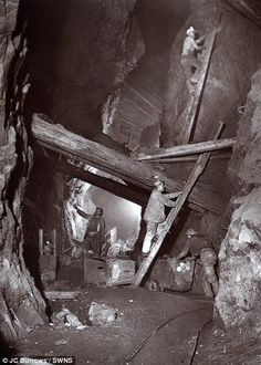 Cornish miners-Precarious: Miners clambered up rickety ladders and under the precarious timber beams holding the mine shaft together