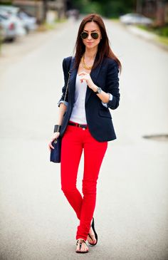 i love everything about this: hot red pants, blazer, aviators...
