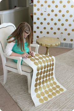 A Gold Polka Dot Accent Wall! - A Gold Polka Dot Accent Wall – maybe with a spa blue on the others? Order gold decals here! Girls Bedroom, Bedroom Decor, Bedroom Ideas, Bedrooms, Master Bedroom, Accent Walls In Living Room, Gold Polka Dots, Polka Dot Walls, Little Girl Rooms