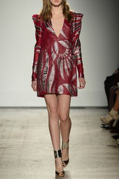 Red and Silver Jacquard Mini Dress - #MilanFashionWeek in #PreO: tap link in bio to be a @Genny Official woman and #Preorder its #AW16 collection right now!