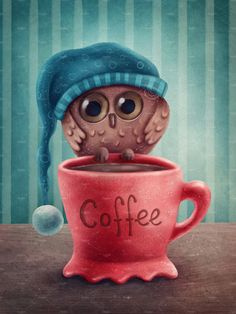 Coffee Meme, Funny Coffee Mugs, Coffee Art, Coffee Quotes, Coffee Drawing, Coffee Painting, Cute Animal Drawings Kawaii, Cute Drawings, Owl Art