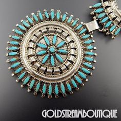 """NATIVE AMERICAN NATHANIEL & ROSEMARY NEZ NAVAJO STERLING SILVER TURQUOISE NEEDLEPOINT NECKLACE 23"""""""