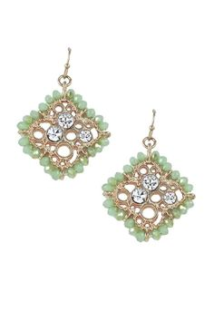 """Jade green color crystal clover earrings with clear stone detail.    Measures: 1.25"""" L x 1.25 W   Fish Hook   Clover Earrings by Lolly Ella. Accessories - Jewelry - Earrings Michigan"""
