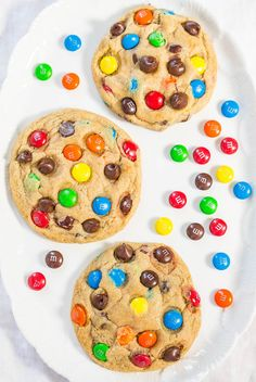 Yum! Soft chewy M&M's cookie recipe.
