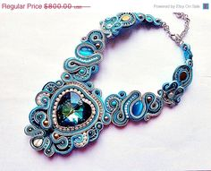 ON SALE for Rebranding SOUTACHE Christmas Fairy necklace Wedding soutache turquoise necklace with Swarovski heart of 40mm bridal party eveni by mysweetcrochet on Etsy https://www.etsy.com/listing/161949435/on-sale-for-rebranding-soutache