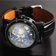 Mens Watch / Vintage Style Watch / Handmade Style Watch / Leather Watch / Chain Hollow Out Mechanical Watch (WAT0042-black) - Thumbnail 1