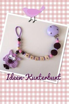 Pacifier chain with crochet owl❤️Schnullerkette mit Motiv Häkeleule und Perlen by Ideen-Kunterbunt