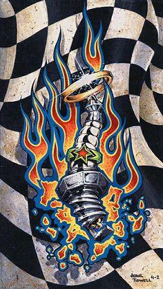 Kentucky fried art of Jeral Tidwell Hot Rod Tattoo, 4 Tattoo, Body Art Tattoos, Rockabilly Art, Pinstripe Art, Biker Tattoos, Pinstriping Designs, Garage Art, Desenho Tattoo