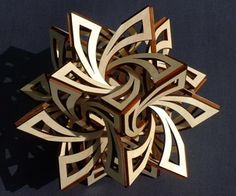 You can make this Geometric Sculpture with cardboard, poly foam or leather or patterned hard material for better visual impact. Materials you may need: printer printer paper cardboard scissors stationery knife ruler tape and glue Laser Cutter Ideas, Laser Cutter Projects, Laser Art, 3d Laser, Cardboard Sculpture, Wood Sculpture, Organic Sculpture, Metal Sculptures, Bronze Sculpture