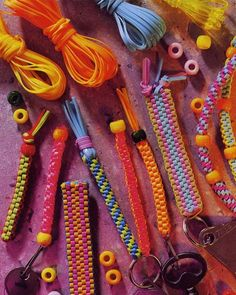 Purchase the Lanyard Maker Kit and make colorful keychains, backpack pulls and friendship bracelets! Some call them scoubidou, boondoggle or plastic gimp! Fun Crafts, Diy And Crafts, Crafts For Kids, Arts And Crafts, String Crafts, Tape Crafts, Gimp Bracelets, Friendship Bracelets, Making Bracelets