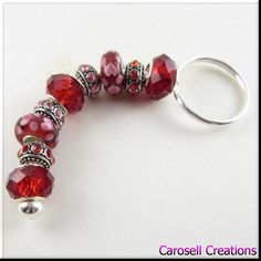 European Style Keychain Car Accessories Murano Lampwork Glass Beads Red and Pink Heart Bling Key Chain TAGS - Accessories, Keychains, carosell creations, keychain, key chain, European Beads, tibetan silver, large hole beads, crystals, red, bling, pink, lampwork beads, heart, swarovski, etsy, car, home, gypsy, passion, sexy, love, lust, valentine, handmade, jewelry