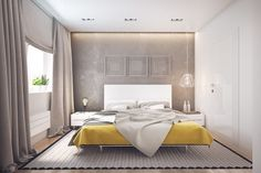 The color palette extends into the bedroom where the yellow is a bit muted by texture. This lets the throughline of the design continue without creating visual noise in what should be a relaxing space.