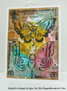 Alie Hoogenboezem-de Vries: Butterfly card with Designs by Ryn: Moon Wings (stamps)