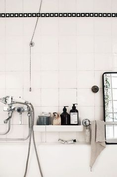 Black and white bath with black tile trim - Love Home Decor School Bathroom, Laundry In Bathroom, White Bathroom, Vanity Bathroom, Budget Bathroom, Small Bathroom, Washroom, Modern Bathroom, Bathroom Stand