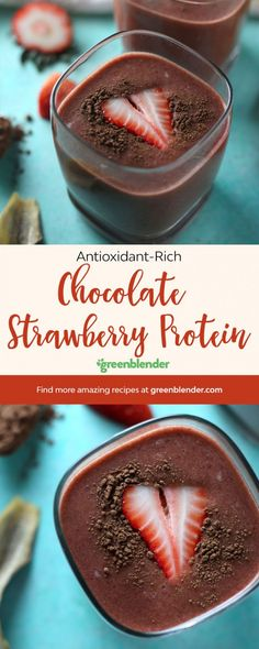 A post-gym or healthy afternoon snack that tastes like chocolate covered strawberries? Sign us up! Healthy Protein Snacks, Healthy Shakes, Healthy Smoothies, Breakfast Smoothies, High Protein, Healthy Drinks, Healthy Afternoon Snacks, Green Smoothie Recipes, Green Smoothies