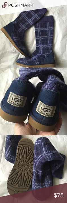 UGGS! Youth size 6! Uggs youth size 6! Excellent condition! Like new! Purple and blue plaid textile upper and inside is lined with warm sheep fur! Size youth 6 or could also fit womens 7.5 UGG Shoes Boots