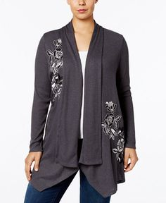 INC International Concepts Plus Size Embroidered Open Cardigan, Created for Macy's