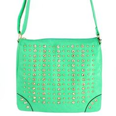 """Click Here and Buy it On Amazon.com $35.99 Amazon.com: New Arrival """"Designer Inspired"""" Bling Bling Rhinestone and Small Round Golden Rivet Studded Solid Trifold Style Messanger Bag / Crossbody Bag in Light Mint Green: Clothing"""