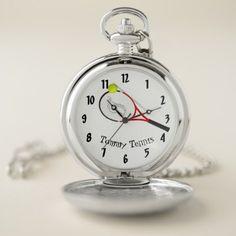 Tennis time cool funky silver Modern elegant Pocket Watch - kids kid child gift idea diy personalize design