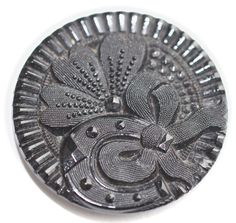 Black Glass Pictorial Button  Medium by KPHoppe on Etsy