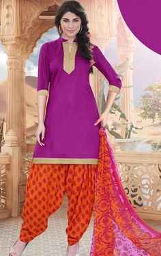 Picture of Angelic Violet Cotton Patiala Salwar Kameez
