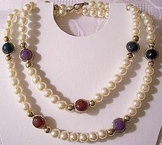 Pearl Purple Green Red Black Bead Necklace Gold Tone Vintage Open Spinning Rings Spacer Beads Lobster Claw Clasp 36 Inches Long