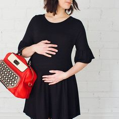 Have you seen the must have maternity dress for all seasons? You can wear with stockings and heels for work, leggings and boots for play dates, and dress it up for special events with some bling! For only $36.99, we're pretty sure this will quickly be your favorite!