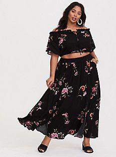 9f64195b350 Black Floral Crepe Maxi Set Challis Fabric