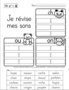 Je révise mes sons: ch, ou et on - Autism Education French Teaching Resources, Teaching French, Autism Education, Primary Education, French Worksheets, Core French, French Education, French Classroom, French Teacher