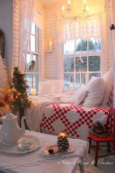 Romantic cottage home decor decorating red and white shabby chic Christmas / Winter