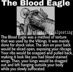 The blood eagle was a method of torture used by the vikings, it was mainly used for shock value. The skin on your back would be sliced open, exposing your ribcage, your ribs would be snapped and pulled back, making it look like you had bloodstained wings, then your lungs would be dragged out and left hanging outside your body while you slowly suffocated.