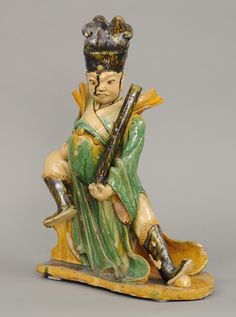 Chinese Warrior Roof Tile    Chinese Sancai (three colors) glazed figure of a warrior roof tile.
