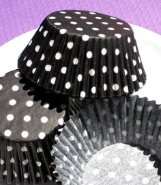 Black Polka Dot Cupcake Liners Baking Cups by thebakersconfections, $3.50
