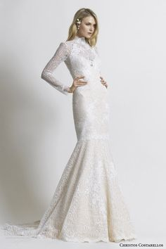 costarellos bridal 2014 long sleeve beauvillain lace wedding dress