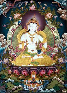Vajrasattva Om Vajra Sattva Hum traditional art of Nepal