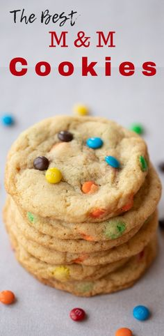 If you're looking for the best M&M Cookies, this is the recipe for you. These are soft and chewy, homemade M and M Cookies. It's also a great recipe to use for the best chocolate chip cookies too. So delicious! Best M&m Cookie Recipe, Holiday Cookie Recipes, Easy Cookie Recipes, Sugar Cookies Recipe, Healthy Dessert Recipes, Yummy Recipes, Holiday Cookies, Soup Recipes, Delicious Cookies