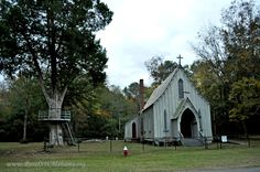 St John's Episcopal Church at Forkland, AL (built 1859, listed on the NRHP.) --- For additional details, go to www.ruralswalabama.org/attractions/st-johns-episcopal-church-1859/.
