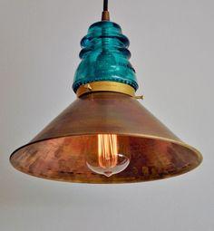 26 ideas vintage lighting fixtures kitchen glass insulators for 2019 Rustic Lighting, Industrial Lighting, Vintage Lighting, Lighting Design, Pendant Lighting, Lighting Ideas, Modern Industrial, Pendant Lamps, Industrial Design