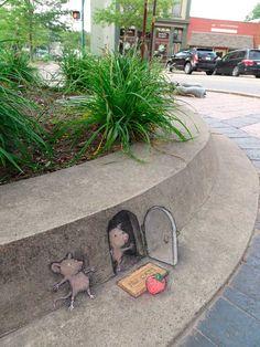 David Zinn sidewalk chalk illustrations - kid-friendly street art - children's art Small for Big 3d Street Art, Amazing Street Art, Street Art Graffiti, Street Artists, Amazing Art, Awesome, 3d Street Painting, Urban Street Art, David Zinn
