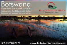 Expeience the sunset out of a Mokoro in the Okavango delta in Botswana Okavango Delta, Self Driving, 4x4, Vehicle, Africa, Explore, Adventure, Sunset, Books
