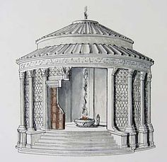 temple of vesta - reconstruction, note presence of entablature