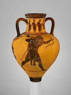 "Terracotta neck-amphora (jar)  Attributed to a painter of the Princeton Group     Period:      Archaic  Date:      ca. 540-530 B.C.  Culture:      Greek, Attic  Medium:      Terracotta  Dimensions:      H: 13"" Greatest diameter: 8 3/4""  Classification:      Vases"
