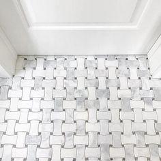 White and grey hue bathroom floor tile - Hampton Delray Marble Mosaic Tile - 10 x 10 in.